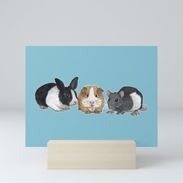 Dwarf rabbit, guinea pig and rat Mini Art Print