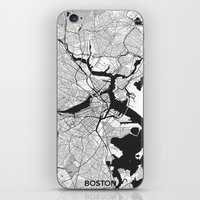 boston map iPhone & iPod Skins featuring Boston Map Gray by City Art Posters