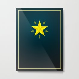 Gold Star/ Blue Metal Print