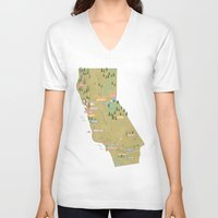california V-neck T-shirts featuring California by McKean Studio