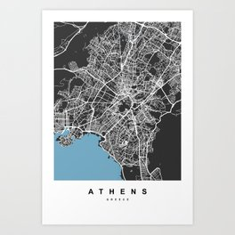 Athens, Greece Map | Black & Blue Color Art Print