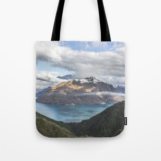 Mountains & Blue water Tote Bag