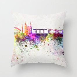 Minsk skyline in watercolor background Throw Pillow