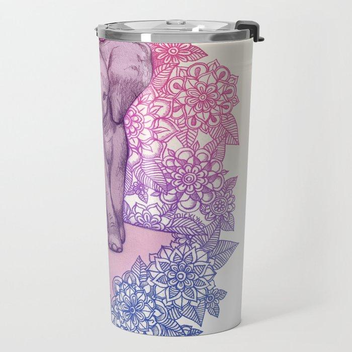 Cute Baby Elephant in pink, purple & blue Travel Mug