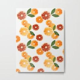 sliced oranges and spring watercolor Metal Print
