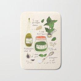 Pesto. Illustrated Recipe. Bath Mat