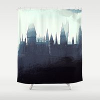 dumbledore Shower Curtains featuring Harry Potter - Hogwarts by Juniper Vinetree