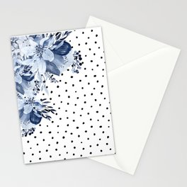 Boho Blue Flowers and Polka Dots Stationery Cards