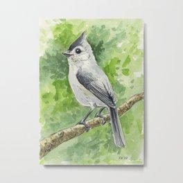 Titmouse bird watercolor Metal Print