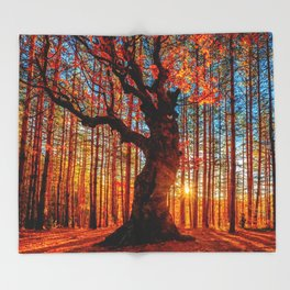 Majestic woods Throw Blanket