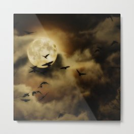 Crows Fly Towrads The Moody Moon's Glow Metal Print