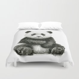 Panda Baby Watercolor Duvet Cover