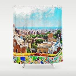 Barcelona, Parc Guell Shower Curtain