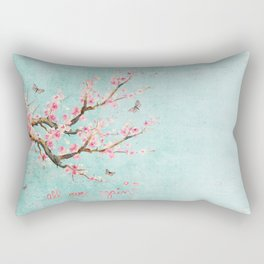 Its All Over Again - Romantic Spring Cherry Blossom Butterfly Illustration on Teal Watercolor Rectangular Pillow