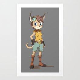 Caracal Cat Girl Art Print