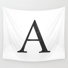 Letter A Initial Monogram Black and White Wall Tapestry