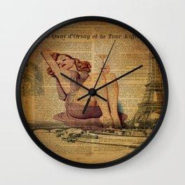 vintage newspaper print paris eiffel tower pin up girl Wall Clock