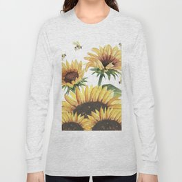 Sunflowers and Honey Bees Long Sleeve T-shirt