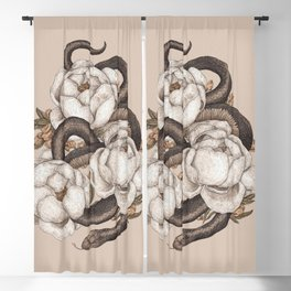 Snake and Peonies Blackout Curtain