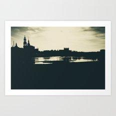 Silhouette des Dresdener Elbufers Art Print