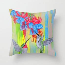 J Humming Bird Throw Pillow