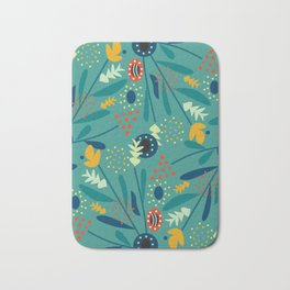 Floral dance in blue Bath Mat