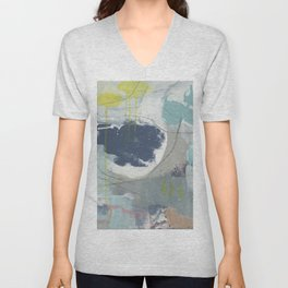 From Memory VI - abstract collage blue, agean green, pink, yellow Unisex V-Neck