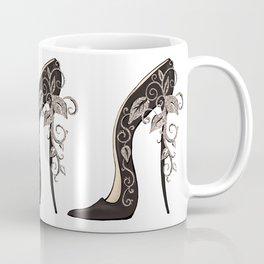 Black stiletto shoe floral swirls decoration Coffee Mug
