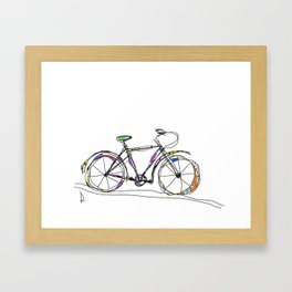 Colorful Bicycle Line Art Framed Art Print