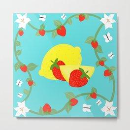 Lemons & Strawberries on Teal Metal Print