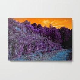 Not home planet alien landscape indigo purple orange surreallist Metal Print
