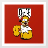 homer Art Prints featuring Homer-Popeye by le.duc