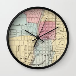 Vintage Map of Joilet IL (1876) Wall Clock