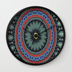 Lovely Healing Mandalas in Brilliant Colors: Black, Wheat, Slate Gray Red and Purple Wall Clock