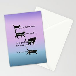 Black cat crossing Stationery Cards
