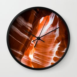 The Passage   Nature Landscape Photography of Wavy Red Rock Formations in Antelope Canyon Arizona Wall Clock