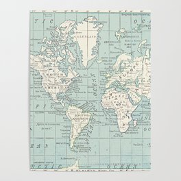World Map in Blue and Cream Poster