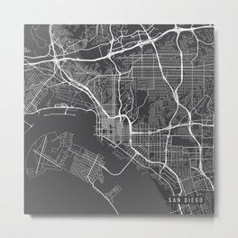 San Diego Map, USA - Gray Metal Print