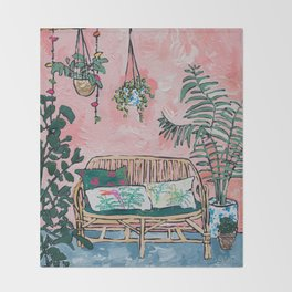Rattan Bench in Painterly Pink Jungle Room Throw Blanket