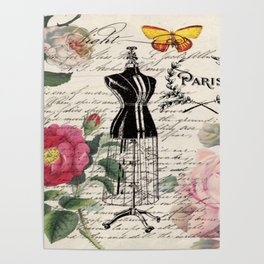 french country rose floral modern vintage dress mannequin paris fashion Poster