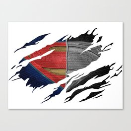Man of Steel Ripped Symbol Canvas Print