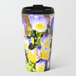 Blue and Yellow Pansies Travel Mug