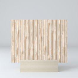 Ligonier Tan SW 7717 Vertical Grunge Line Pattern on White Mini Art Print