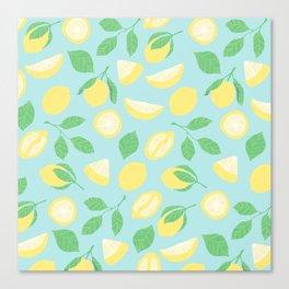 Lemon Pattern Blue Canvas Print