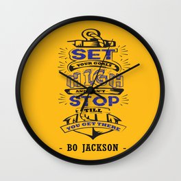 Set your goals high Bo Jackson Inspirational Sports Typographic Quote Art Wall Clock