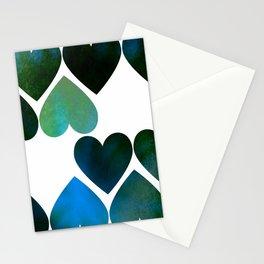 Mod Blue Hearts Stationery Cards