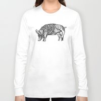 pig Long Sleeve T-shirts featuring Pig by Rebexi