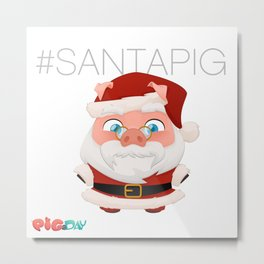 #Santa Pig Metal Print
