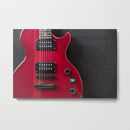Red Guitar Metal Print