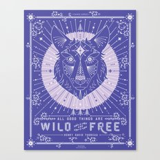 Wild & Free Wolf – Periwinkle Canvas Print
